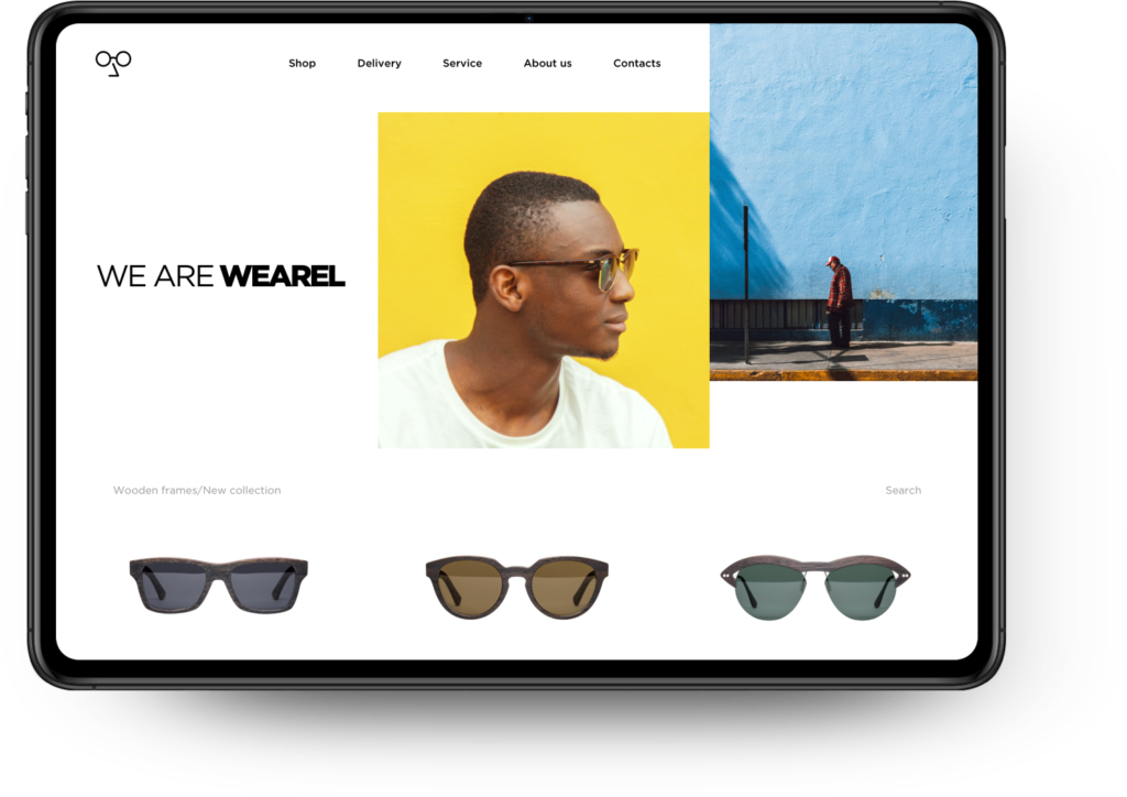 image illustrates how we can build an eCommerce website so that products can be showcased in an online store. The online store displayed sells mens sunglasses.