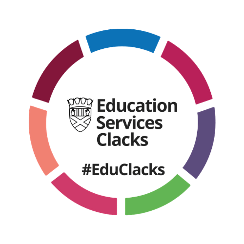 Clacks council education services logo accompanying a client testimonial from the council